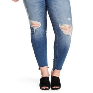 NWT STS Blue high rise raw hem skinny jean Sz 35
